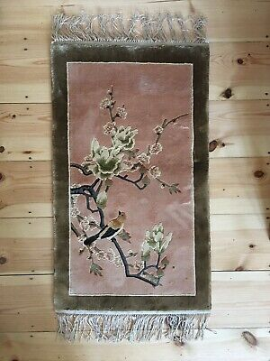 Vintage Chinese Silk Floral & Bird Design Rug / Wall Hanging  • 65£