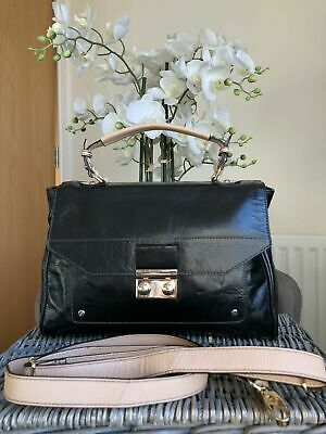M&S AUTOGRAPH Real Leather Ladies Smart Black Satchel Crossbody Shoulder Bag • 35£