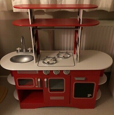 ELC Red Wooden Diner Kitchen And Large Bundle Of Accessories Including Vacuum • 50£
