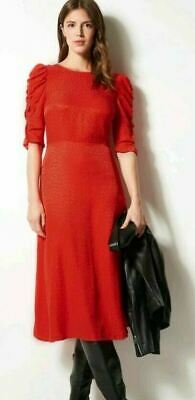 M&S Collection Jacquard Print Fit & Flare Red Midi Dress, UK 12, BNWT • 15£
