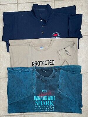 South Africa Shark Cage Diving  2 X Dark Blue + 1 Taupe T-Shirts - XLarge  • 20£