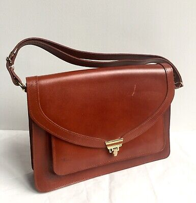 Women's Vintage Tan Brown Leather Satchel Shoulder Bag Handbag • 30£