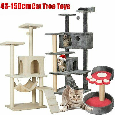 Large Cat Tree Tower Condo Furniture Scratching Kitty Kitten Play House Cat Toys • 44.99£