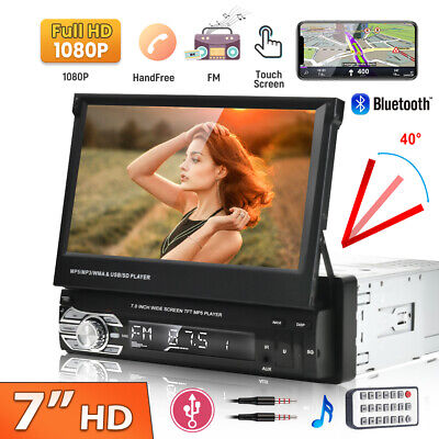 Car Radio 7  Single 1DIN Flip-Out Car Stereo Player Bluetooth FM USB With Camera • 62.99£