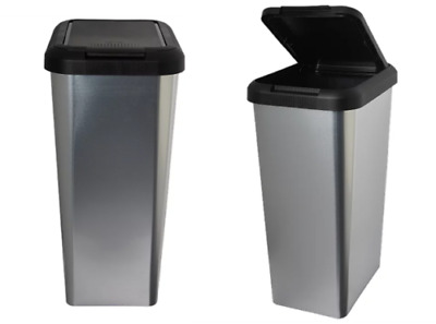 £19.99 • Buy 45l Silver Iml Touch & Lift Rectangle Swing Kitchen Waste Rubbish Recycle Bin