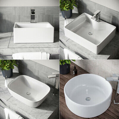 Compact Hand Wash Counter Top Bathroom Basin Sink Wall Mounted Bowl Ceramic UK • 23.55£