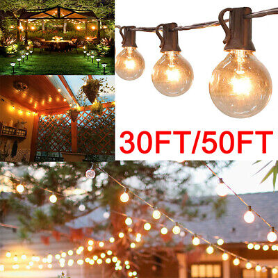 50ft Globe Festoon String Lights Mains Powered 50 G40 5bulbs Warm White Outdoor • 31.86£