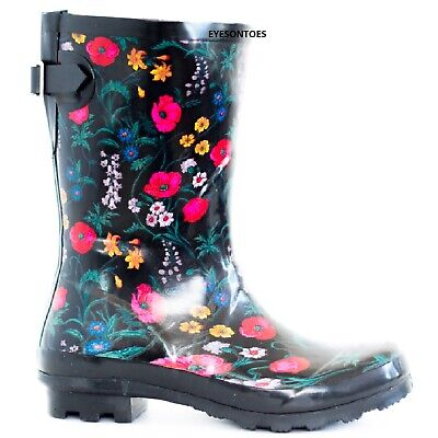 Womens Garden Ladies Wellies Flower Festival Rain Waterproof Wellington Boots • 21.95£