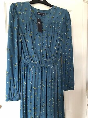 M&S Collection 2020 Teal Blue Midi Dress Floral Print UK12  BNWT Retail £39.50 • 16.99£