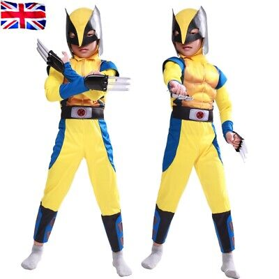 Boys Wolverine Cos Costume Tight Muscle Suit Fancy Party X-Men Cosplay Club A1 • 20.37£
