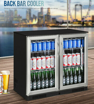 AU750 • Buy NEW BLACK STAINLESS 2 Door Under Bench Display Drinks Fridge Refrigerator
