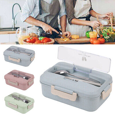 3 Compartments Lunch Box Food Container Set Bento Storage Box Color Options • 4.99£