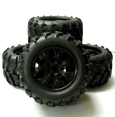810001 1/8 Scale Off Road RC Monster Truck Wheels And Tyres X 4 Black • 32.99£