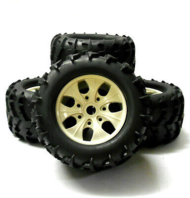 810002 1/8 Scale Off Road RC Monster Truck Wheels And Tyres X 4 White • 32.99£