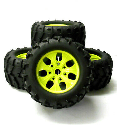 810003 1/8 Scale Off Road RC Monster Truck Wheels And Tyres X 4 Green • 32.99£