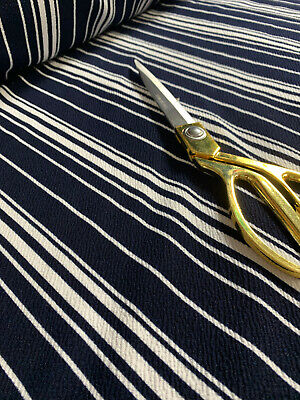 Wide Ponte Roma Navy Blue And White Stripes Pattern Dress Craft Fabric 58  • 7.49£
