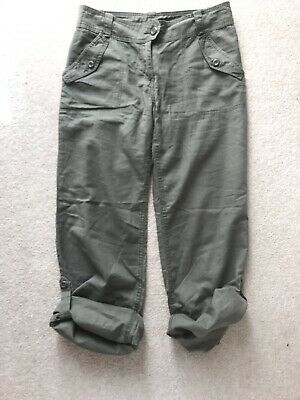 H&M Khaki Cropped / Long  Linen Trousers - EUR 38 • 3£