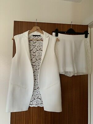 Brand New Zara White Lace Shorts Sleeveless Blazer Co Ord Size Small/Medium • 15£