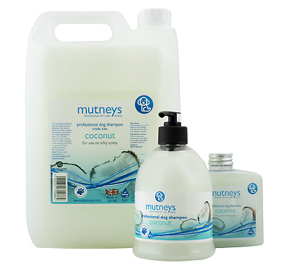 Mutneys Grooming CONCENTRATED All Breeds Dog Shampoo Coconut Soft Silky Coats UK • 23.95£