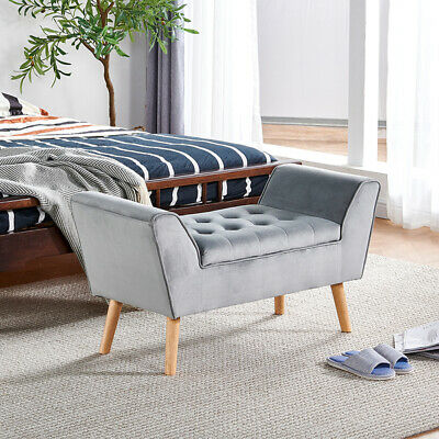 Velvet Front End Bed Bench Stool Ottoman Pouffe Chair Footstool W/ Storage Grey  • 21£