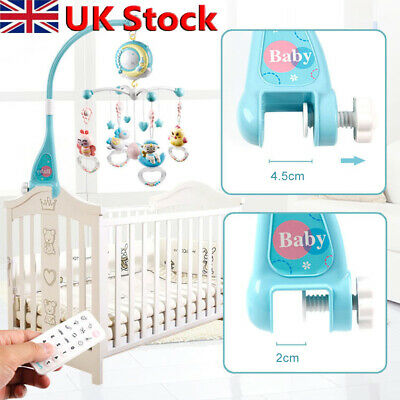 Baby Crib Mobile Musical Bed Bell Toy With Controller Music Night Light Toy UK • 20.58£
