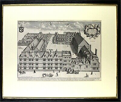 Original Framed 17th Cent Copper Engraving   EXETER COLLEGE  - OXFORD UNIVERSITY • 165£