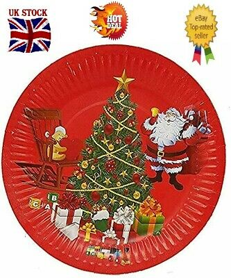 £2.49 • Buy Christmas Party Plates 26cm Pack Of 10 Party Supplies (christmast Santa Tree)