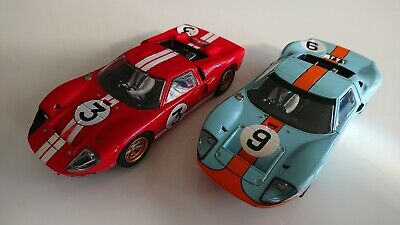 Pair Of Ford GT40 Scalextric Cars Gulf And Red Working Lights Super Fast • 36£