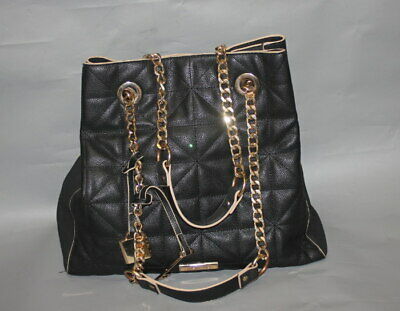 River Island Black Faux Leather Chain Shoulder Tote Bag VGC • 22£