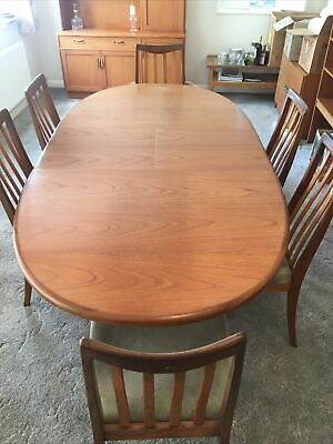 G Plan Extending Dining Table With 6 Chairs 1970's • 100£