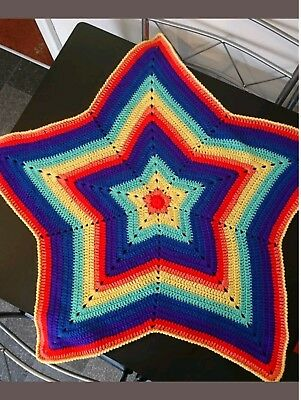 Hand Made Crochet Rainbow 🌈 Pretty 5 Pointed Star Baby Blanket/coverlet • 7.49£