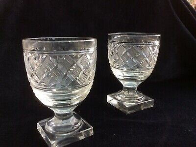 Pair Of Victorian Cut Glass Rummers On Square Bases • 30£