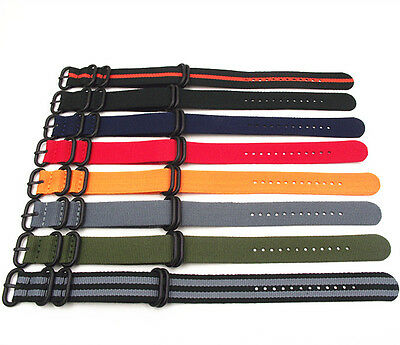 £7.99 • Buy Military Nato Style Nylon Strap Strong Zulu Watch Band (Black Buckle) 18-24 MM