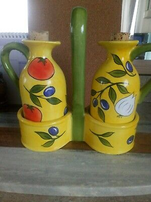 Vintage  Quality Rayware By Design Olive Oil Jugs And Holder • 9.99£