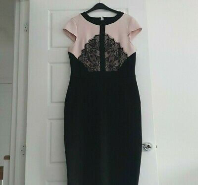 Dorothy Perkins Blush And Black Scuba Midi Dress • 8.50£