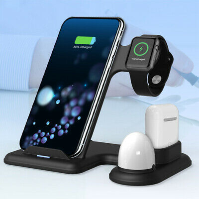 AU25.49 • Buy 4in1 Qi Wireless Charger Fast Charging Dock Stand 10W With Night Light