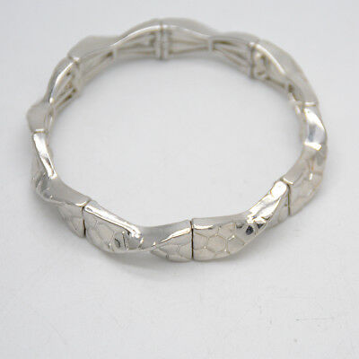 $ CDN9.34 • Buy Lia Sophia Signed Jewelry Retired Stretch Bangle Silver Wave Hammered Bracelet