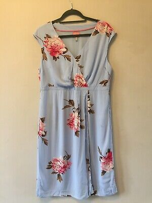 Joules Sky Blue 'Helena' Floral Midi Shift Dress Size 16 Party Evening Lined • 24.99£
