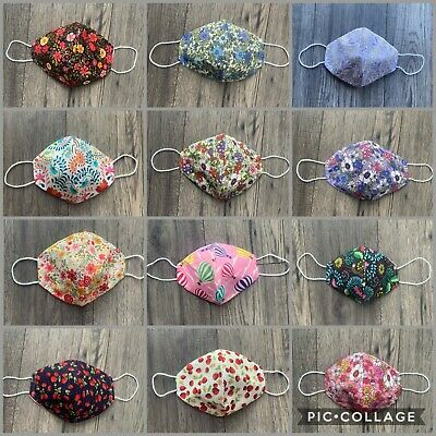 Face Mask Cotton Handmade Washable Reusable Comfortable Lined UK Seller • 4.99£
