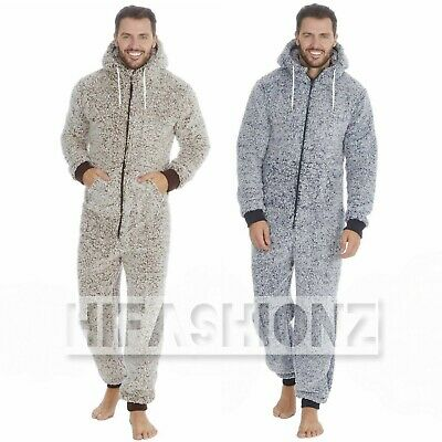 Mens Frosted Snuggle Sherpa Fleece Onezee Super Soft Jumpsuit All In One 1Oneise • 23.99£