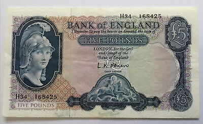 Series B Helmeted Britannia 5 Pound Note O'Brien • 20£