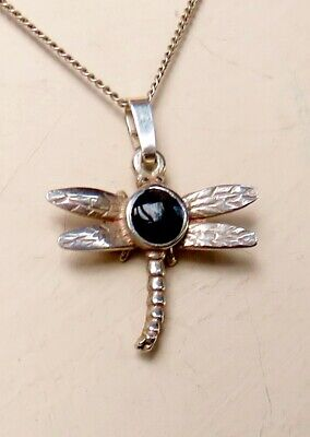 One-off Dragonfly Pendant Inset With A Cabochon Of Whitby Jet +16  Silver Chain • 0.99£