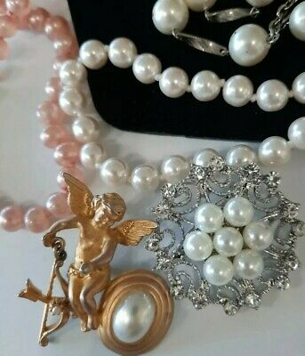 $ CDN13 • Buy 💕vintage Stunning Faux? Pearl Lot, Necklaces, Bracelets, Brooch Pin,ring More💕