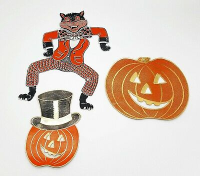 $ CDN59.47 • Buy Vintage Halloween Foils Lot Pumpkins W/ Hat + Articulated Cat Dancer Decoration