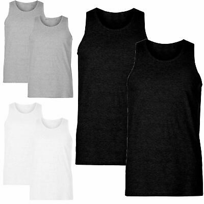 £7.49 • Buy Mens Vest Stretch Lycra Organic Cotton Tunk Top Summer Sports Gym Holiday 2Pack