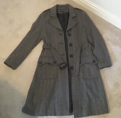 Marks And Spencer Autograph Black Herringbone Wool Mix Coat Size 12 • 3.50£