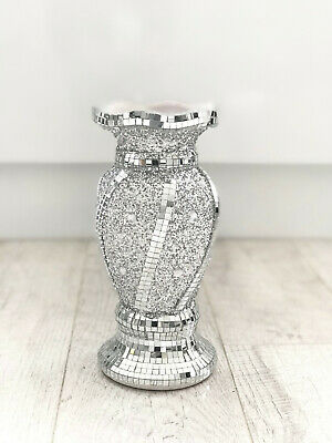 Beautiful Mosaic Vase Diamond Silver Crystal Decorative Mirror Flower Luxury • 19.99£