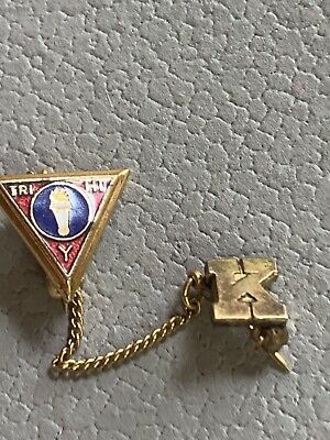 AU16.90 • Buy Vintage Collectible Official YMCA Tri Hi Y Enamel Pin Initial K Pin With Chain