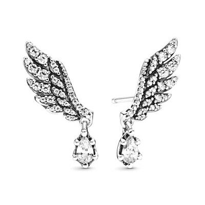 AU69.99 • Buy PANDORA EARRINGS Sterling Silver ALE S925 DARLING ANGEL WING 298493C01