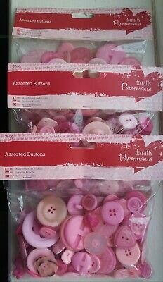 PAPERMANIA Assorted Pink Buttons 250g X3 • 4.99£